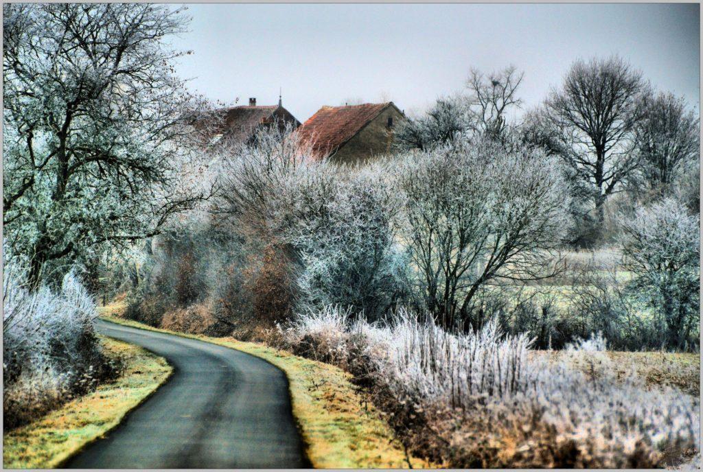 JANVIER - Hameau de Puisaye par un matin givré ©Daniel Salem